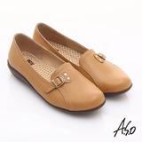 【A.S.O】舒適通勤 全真皮金屬飾扣奈米休閒鞋(卡其)
