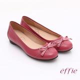 【effie】俏麗悠活 全真皮織帶蝴蝶結飾平底鞋(桃粉紅)