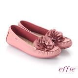 【effie】手工縫線 牛皮立體花瓣奈米平底休閒鞋(粉紅)