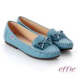 【effie】手工縫線 牛皮細帶蝴蝶奈米平底休閒鞋(藍)