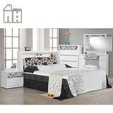 AT HOME-威爾納5尺白色被櫥雙人床組(床架+床頭櫃*2+五斗櫃+鏡台(含椅))