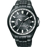 CITIZEN Eco-Drive 黑色電波萬年曆鋼帶腕錶-IP黑/43mm-CB0014-52E