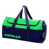 AIRWALK 圓筒手提旅行大包-丈青綠