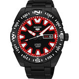 SEIKO 精工5號盾牌賽車機械錶-黑x紅/45mm 4R36-04V0R(SRP749J1)