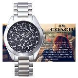 COACH TRISTEN 滿版LOGO自信時尚圖騰女用腕錶-銀/32mm/CO14502347