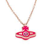 Vivienne Westwood 新款ORB星球晶鑽項鍊-洋紅色