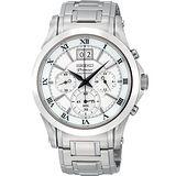 SEIKO Premier 大視窗時尚計時腕錶(銀/41mm) 7T04-0AA0S