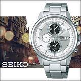 SEIKO SPIRIT 銀白太陽能時尚三眼計時鬧鈴腕錶-41mm/V172-0AA0A(SBPY065G)