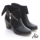 【A.S.O】 機能美型 牛皮拉鍊翻摺綁粗跟短靴(黑)