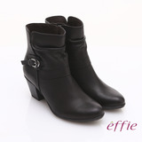【effie】魅力時尚 全真皮騎士風格拉鏈短靴(黑)
