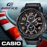 CASIO EDIFICE 世界時尚男用指針錶-黑x皮帶版/50.6mm/EFR-302L-1A