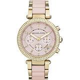 Michael Kors MK 美式奢華晶鑽計時腕錶-粉x金/39mm MK6326