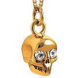 JUICY COUTURE 骷髏頭墜飾晶鑽項鍊-金色