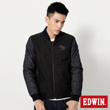 EDWIN 牛仔袖鋪棉外套-男-黑色