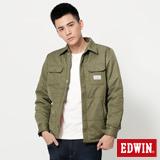 EDWIN 襯衫式舖棉外套-男-橄欖綠