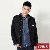 EDWIN 襯衫式舖棉外套-男-黑色