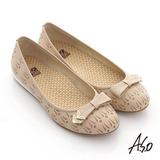 【A.S.O】活力勁步 全真皮金屬釦飾壓紋平底休閒鞋(卡其)