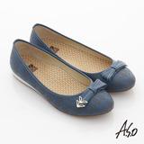 【A.S.O】活力勁步 全真皮金屬釦飾壓紋平底休閒鞋(深藍)