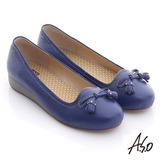 【A.S.O】活力勁步 牛軟皮流蘇蝴蝶平底鞋(藍)
