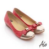 【A.S.O】樂活美人 全真皮格紋拼接蝴蝶平底鞋(紅)