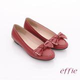 【effie】俏麗悠活 真皮蝴蝶結金屬楔型低跟鞋(紅)