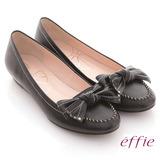 【effie】俏麗悠活 真皮蝴蝶結金屬楔型低跟鞋(黑)