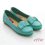 【effie】輕量樂活系列 真皮蝴蝶結車縫線奈米莫卡辛鞋(湖水藍)