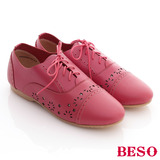 【BESO】全真皮書卷氣息學院風平底牛津鞋(紅)