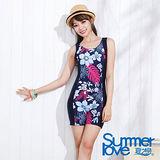 【夏之戀SUMMER LOVE】典雅印花連身四角泳衣-加大碼(E14797)