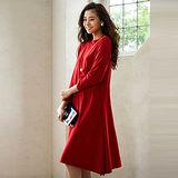 日本Portcros 現貨-素色七分袖小高領連身洋裝(共兩色)