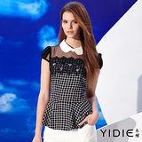 【YIDIE 衣蝶】 小圓領雪紡鑽飾經典格紋上衣