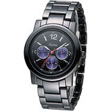 Hanna 巴黎時尚全日曆黑陶瓷腕錶-紫色小錶盤