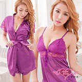 【天使霓裳】睡衣 浪漫玫瑰 蕾絲短袖三件式睡衣組(深紫M,2L)