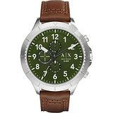 A│X Armani Exchange Romulous 計時錶-綠x咖啡/50mm AX1758