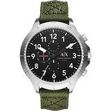 A│X Armani Exchange Romulous 計時錶-黑x綠/50mm AX1759