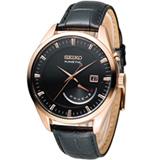 SEIKO KINETIC 人動電能時尚腕錶 5M84-0AB0K SRN078P1 黑x玫瑰金色