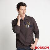 BOBSON 男款合身版貼布繡POLO長袖上衣(墨綠34021-46)