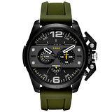 DIESEL 鋼鐵之臂潮流個性腕錶-橡膠軍綠