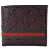 GUCCI Guccissima織帶真皮壓紋短夾(零錢口袋/深咖)
