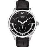 TISSOT Tradition 逆跳星期萬年曆石英腕錶(黑-42mm) T0636371605700