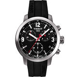 TISSOT PRC200 霸氣時尚三眼計時腕錶(黑膠帶/42mm) T0554171705700