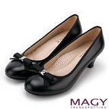 MAGY OL通勤專屬 親膚真皮織帶蝴蝶結高跟鞋-黑色