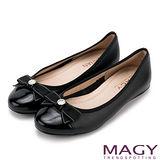 MAGY 日系清甜女孩 織帶蝴蝶結牛皮娃娃鞋-黑色