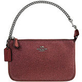 COACH 亮片噴砂造型鍊帶手提包-櫻桃紅色