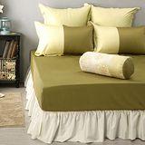 LITA麗塔 波隆那-綠色303織精梳棉床包枕套三件式-雙人特大