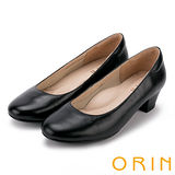 ORIN 簡約時尚 OL柔軟羊皮百搭素面粗跟鞋-黑色