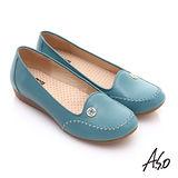【A.S.O】舒適通勤 全真皮手工縫線奈米休閒鞋(淺藍)