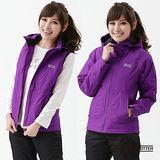 【遊遍天下】Globetex女款JIS90%羽絨背心外套兩穿防風防水機能羽絨外套A095紫色