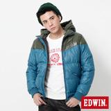 EDWIN 網路限定 可拆帽雙色拼接羽絨外套-男-苔綠色