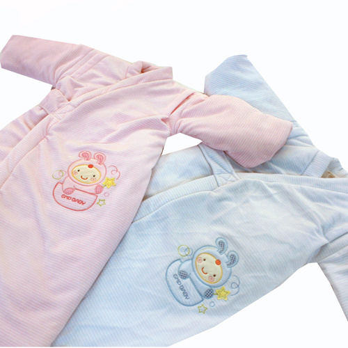 GMP BABY 寶貝保暖條紋兔絨鋪(特長)和服~1件粉